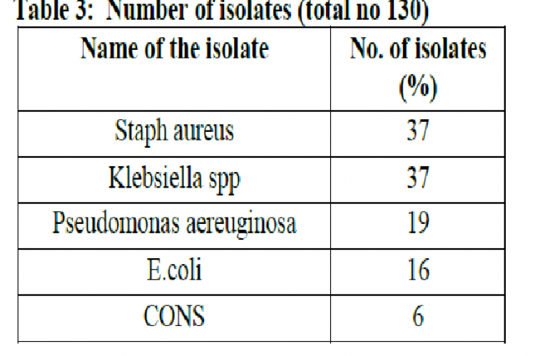 Table 3: Number of isolates (total no 130)